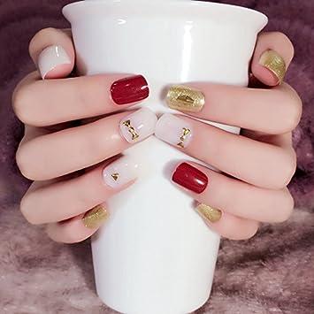 Amazon White Jade Nail Art False Nails Wine Red Gold Flat