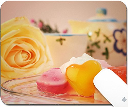 Cherry Jells - Luxlady Gaming Mousepad 9.25in X 7.25in IMAGE: 25748995 Sweet valentine jelly on pink table