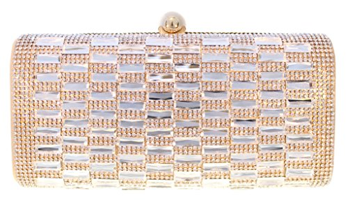Glitz Crystal Pave Hard Case Evening Clutch Handbag with Detachable Chain, Gold