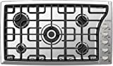 Verona VECTGMS365SS 36'' Side Control Gas Cooktop With 5 Sealed Burners 18 500 BTU Power Burner Continuous Cast Iron Grates Cast-Iron Burner Caps and Stainless Steel Control Knobs in