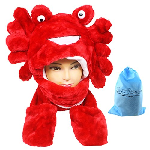 [Silver Fever Plush Soft Animal Beanie Hat with Built-in Earmuffs, Scarf, Gloves (Red Crab)] (Crab Costumes)