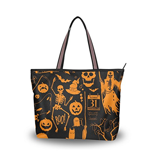 JSTEL Women Large Tote Top Handle Shoulder Bags Halloween Decoration Patern Ladies Handbag ()