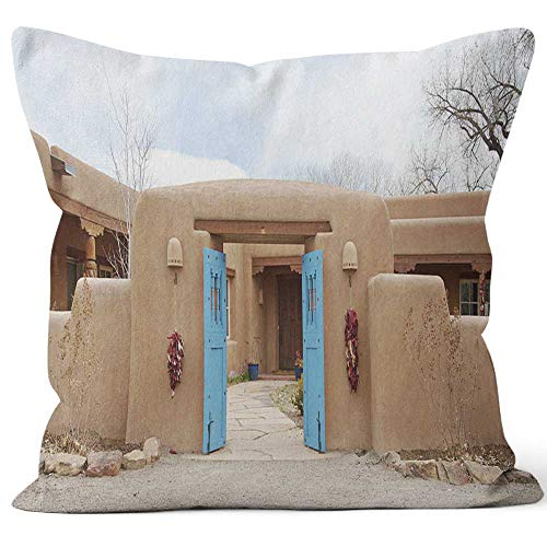 (Nine City Entry Door to Southwest Santa Fe Pueblo Style Adobe House Home Decorative Throw Pillow Cover,HD Printing Square Pillow case )
