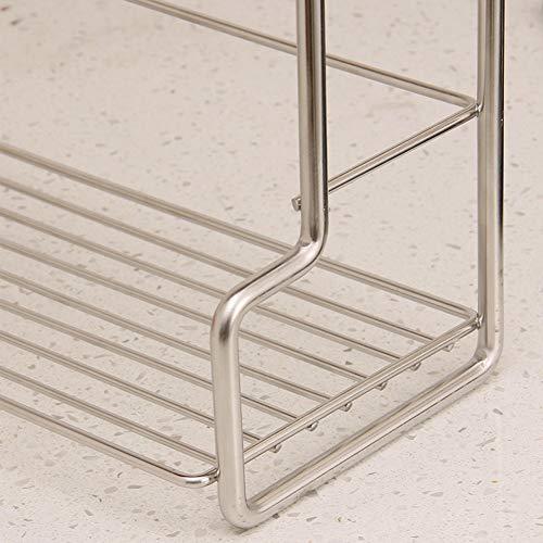 Shelf Storage Racks Pot Rack Storage Basket Shelf Baskets Kitchen Seasoning Storage Shelf Punch Free Stainless Steel Double Layer Storage Shelf ZHAOYONGLI by ZHAOYONGLI-shounajia (Image #3)