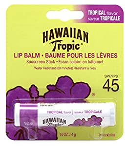 Hawaiian Tropic Tropical Sunscreen Lip Balm, SPF 45+ 0.14 oz (Pack of 6)