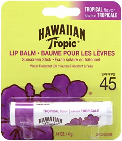 Hawaiian Tropic Tropical Sunscreen Lip Balm, SPF 45+ 0.14 oz (Pack of 3)