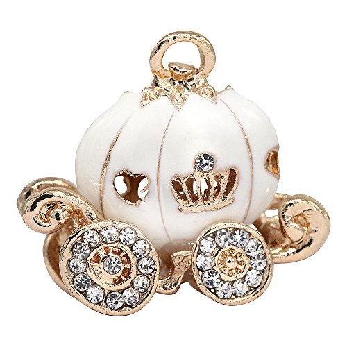 Creative DIY Crystal White Pumpkin Carriage Charms Pendants Wholesale (Set of 3) MH321