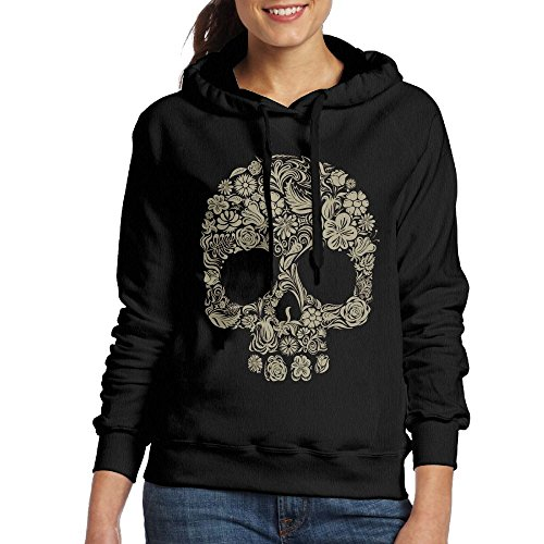 Price comparison product image Grhoodie1 Flower Skull Women's Soft Long Sleeve Pullover Hooded Sweatshirt Black Size L