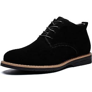 [SWIFTBIRD] スエードシューズ メンズ スウェード靴 カジュアルシューズ スエード キャンバスシューズ 本革 カジュアル靴 ビジネスシューズ 通勤用 ミッドカット ブラック 24.5cm