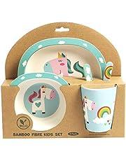 ORNAMI Set Vajilla de bambú para niños, 5 Piezas, diseño de Unicornio - El Set Incluye un Plato, Cubiertos, un tazón y un Vaso - Respetuoso con el Medio Ambiente, sin BPA y Apto para lavavajillas