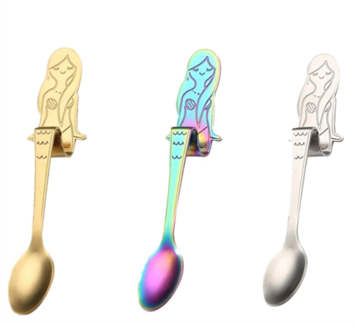 Coffee Scoop Colorful 3 Pcs Mermaid Spoon Hook Design Scoop with Thickening Handle Silver Colorful Gold MENG ZHI AO