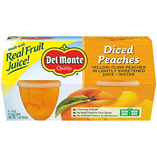 Del Monte Yellow Cling Peaches Fruit Cup, 4-Ounce, 4-Pack by Del Monte