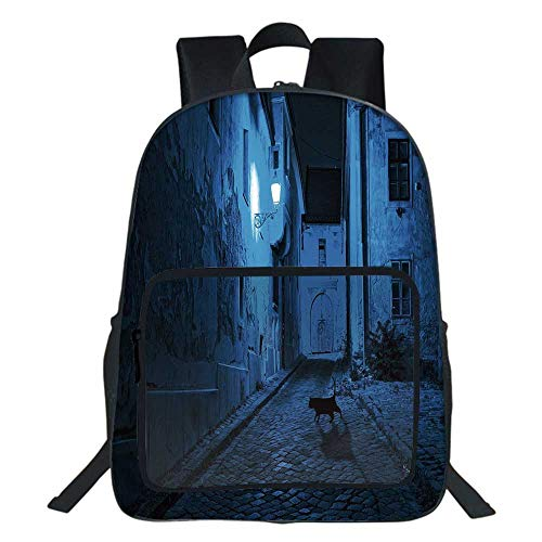 "Urban School Bookbag,Black Cat Crossing Deserted Street at Night Mysterious Old European Town Alley For Teens Girls Boys ,11.8""L x6.3""Wx15.7""H"