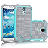 Samsung Galaxy S4 Rugged Impact Heavy Duty Dual Layer Shock Proof Case Cover Skin - Teal / Gray