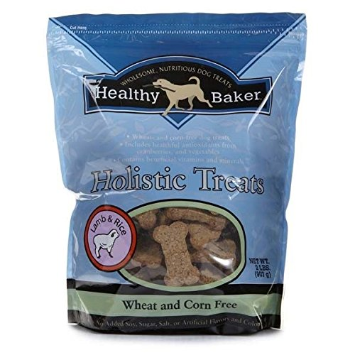Healthy Baker Holistic Flavored Treats for Dogs 2lb Bags Bone Shaped Dog Buscuit(Lamb and Rice Flavor)