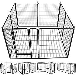 Yaheetech 40-Inch 8 Panel Heavy Duty Pets Playpen Dog Exercise Pen Cat Fence with Door Puppy Rabbits Portable Play Pen,Outdoor & Indoor,Black