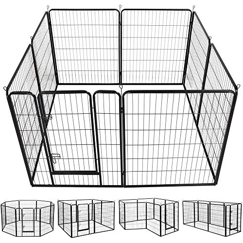 Yaheetech 40-Inch 8 Panel Heavy Duty Pets Playpen Dog Exercise Pen Cat Fence with Door Puppy Rabbits Portable Play Pen,Outdoor & Indoor,Black (Best Small Indoor Dogs)
