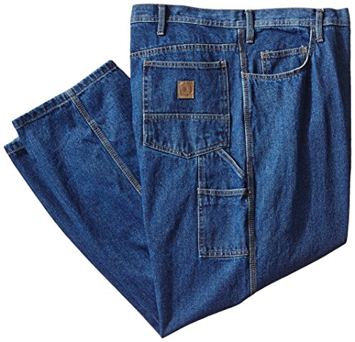 Washed Short Carpenter - Berne Men's Big-Tall Original Carpenter Jean, Stone Washed Denim Dark, 44x30