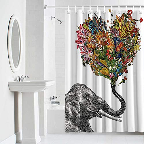 Shower Curtain Waterproof Home Decor,Durable Cloth Fabric Decorative Bathroom Accessories with Hooks,Elephant and Heart Shaped Aztec Floral Personalized 72 x 72 Inches ()
