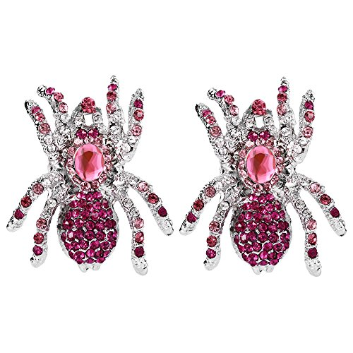 EVER FAITH Halloween Austrian Crystal Tarantula Spider Pierced Stud Earrings Pink -