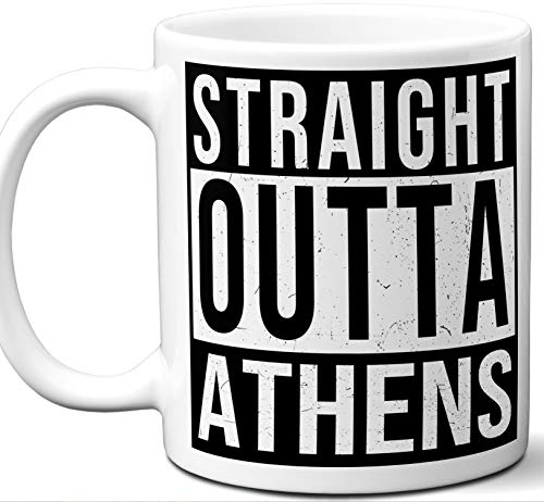 """Athens Illinois IL Souvenir Gift Mug. Unique""""Straight Outta"""" I Love City Town Lover Coffee Tea Cup Men Women Birthday Mothers Day Fathers Day Christmas."""