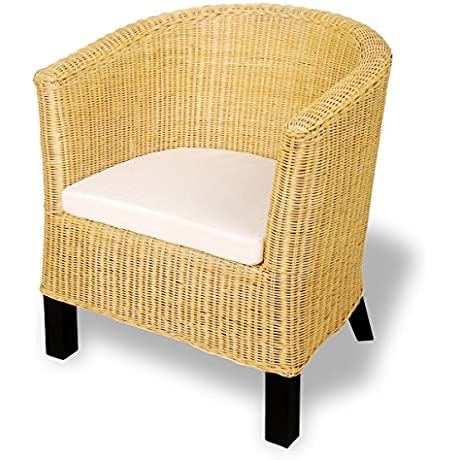 Living Room Chair Armchair Rattan Wicker Accent Woven Chair Seat Mango Wood