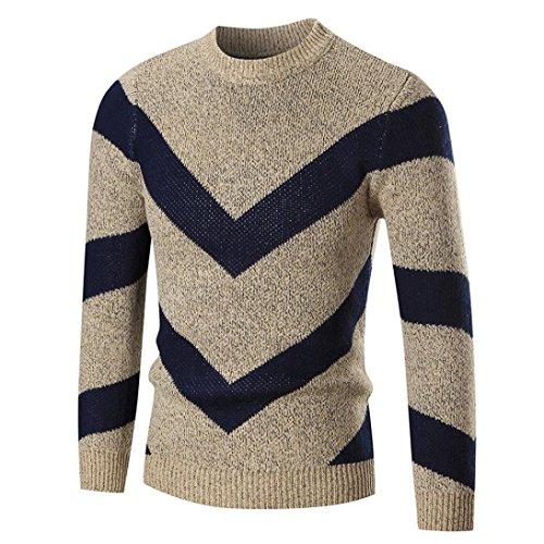 Hot Sales,Yang-Yi 2017 Men's Autumn Winter Sweater Pullover Slim Jumper Knitwear Outwear (Khaki, L) by YANG-YI Mens