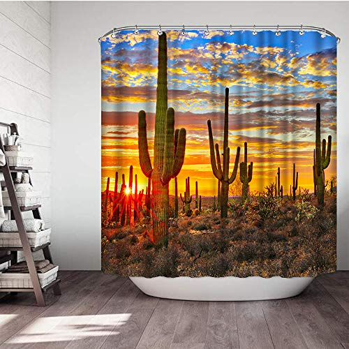 VividHome Cactus Fabric Shower Curtains Western Landscape Sunset Desert Cactus Waterproof Bathroom Decor Sets with Hooks 72 W x 72 L Inches for $<!--$19.98-->