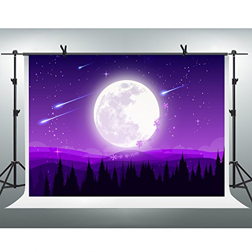 FH 10x7ft Full Moon Purple Sky Stars Backdrop Meteor Mountain Forest Photography Background Themed Party YouTube Backdrops Photo Booth Studio Props KFH058]()
