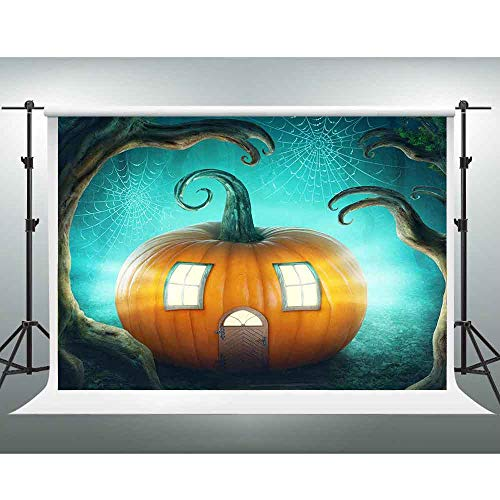 GESEN 10X7ft Halloween Backdrop Pumpkin House Spider Web Photography Backdrop for Themed Party You Tube Background Photo Booth Studio Props -