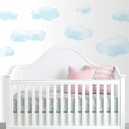 RoomMates RMK1250SCS Clouds Peel & Stick Wall Decals, 19 Count - Wall Peel