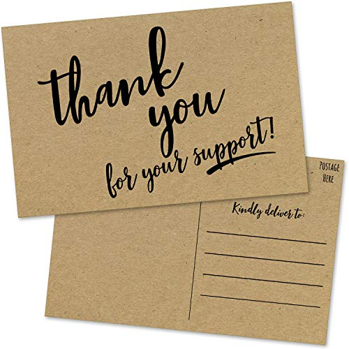 50 Donation Volunteer Thank You Postcards - Thank You For Your Support Cards for Donor Thanks and Charity Fundraiser Notes or Gift Tags - Business Customer Order Appreciation