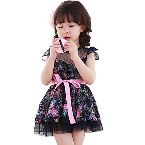 Little Hand Flower Girls Dress Kids Dresses Toddlers Bowknot Lace Princess Dress 2-7y 3T Blue