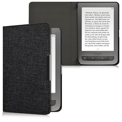 kwmobile Case for Pocketbook Touch Lux 3/Basic Lux/Basic Touch 2 - Book Style Fabric Protective e-Reader Cover Flip Folio Case - dark grey