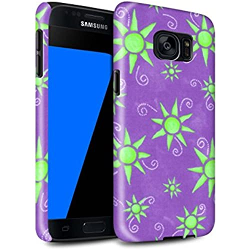 STUFF4 Gloss Tough Shock Proof Phone Case for Samsung Galaxy S7/G930 / Purple/Green Design / Sun/Sunshine Pattern Sales