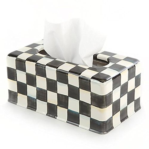 - MacKenzie-Childs Stainless Steel Tissue Box Cover - Enamel Courtly Check Black and White Print Rectangular Tissue Holder - Large