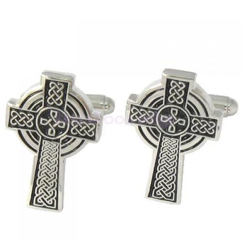 Tone Cross Cufflinks - 1 Pair Mens Stainless Steel Celtic Irish Cross Crucifix Cuff Links Wedding