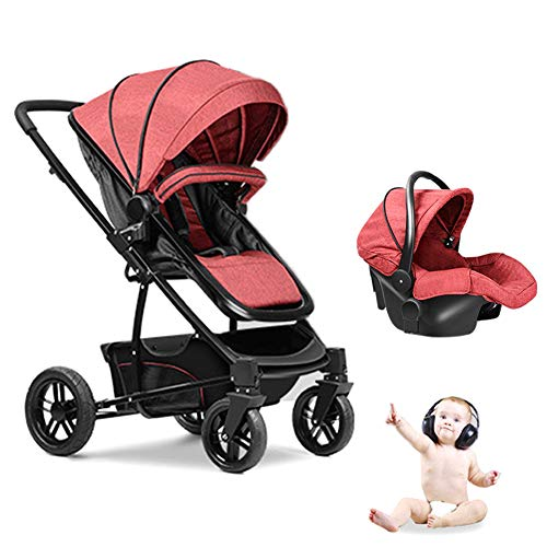 Rabbfay 3 in 1 Luxury Strollers Reversible Baby Carriage for Sit and Lie, Protable Baby Stroller and Baby Bassinets Folding Pram, High-Landscape Easy Carry Pram for Newborns Pushchair,Red