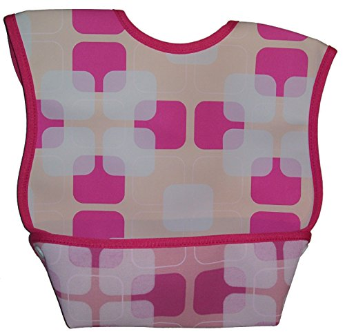 Dex Baby Dura Bib Crum Catcher - Geo Bib, Pink