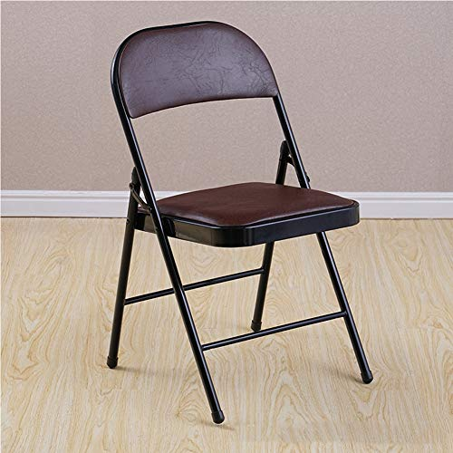 Premier Housewares Folding Chair with Leather Effect Seat Strong Metal Frame,Comfy Cushioned Seat,Foldable Easy Store Away | for Visitor Conference - 78u00d743u00d740cm-8 8 Ball Padded Bar Stool