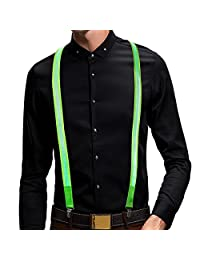 Glowseen USB Rechargeable LED Light up Glowing Suspender for Safety and Night show (Green)