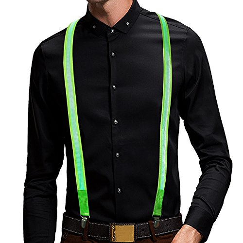 LED Suspender, Light Up Glowing Suspender,USB Rechargeable -