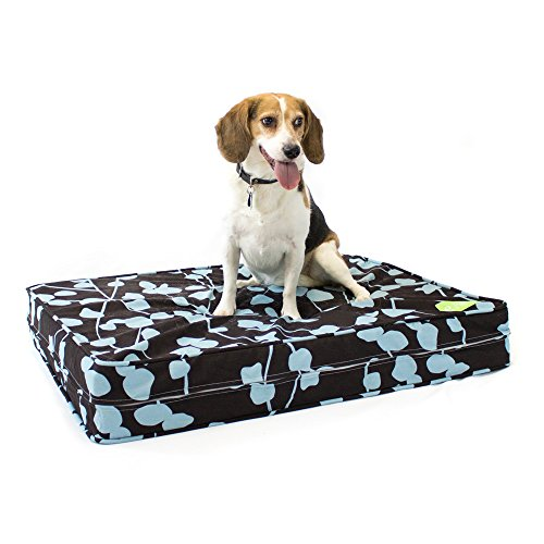 Dog Bed Donut Luxury (eLuxurySupply Dog Bed - Brown & Blue | Orthopedic Gel Memory Foam - Made in The USA | Durable 100% Cotton Canvas Cover | Waterproof Encasement | Machine Washable | Small, Medium & Large Dogs)