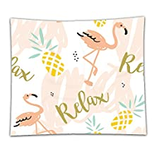 Nalahome Fleece Throw Blanket blush pink flamingo pineapples and message relax on a white background with pastel strokes vector 387782320 59 x 59 Inches