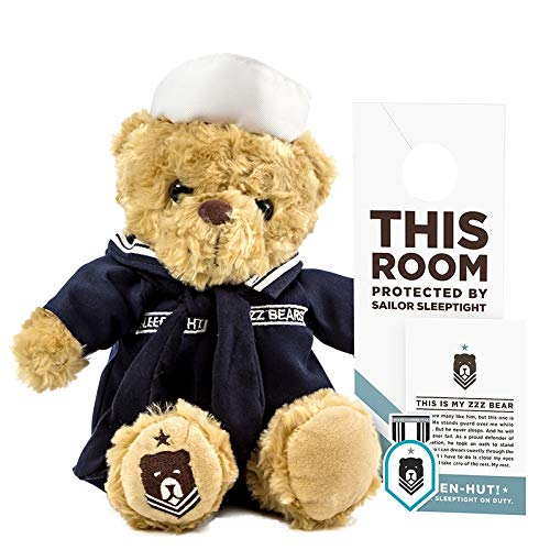 ZZZ Bears Sailor Sleeptight Navy Teddy Bear - Military Plush Toy, Four Step Sleep System to Help with Bedtime (Navy Crackerjack Uniform)