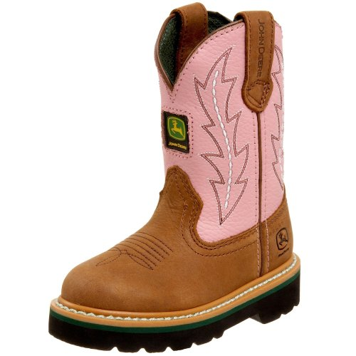 John Deere 2185 Western Boot ,Tan/Pink,8.5 M US Toddler