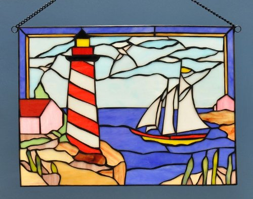 Stained Glass Sailboat (Lighthouse and Sailboat Stained Glass)