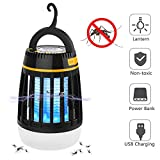 BATTOP Bug Zapper Outdoor, 3 in 1 Camping Lantern & Mosquito Killer & Power Bank - Waterproof Camping Gear Accessories - Rechargeable Mosquito Zapper Light (Black)