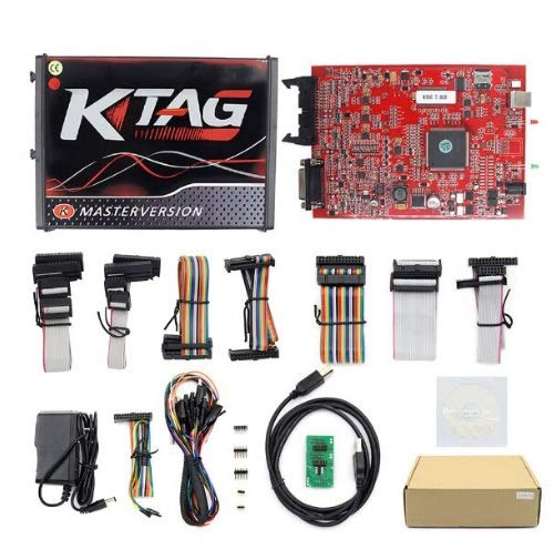 Online V2.47 EU Red Kess V5.017 OBD2 Manager Tuning Kit KTAG V7.020 4 LED Kess V2 5.017 BDM Frame K-TAG 7.020 ECU Programmer (Ktag EU Red 4 LEDs)
