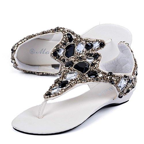 Cuña de tacón Zapatos de mujer cuña diamante Con Zapatos de mujer con cuentas Nacional sandalias Black